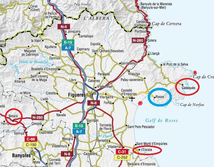 Pueblos De Gerona Mapa.Besalu